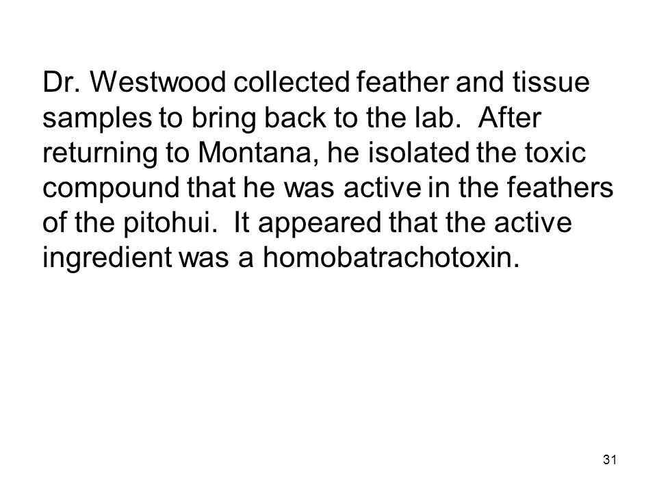 31 Dr. Westwood collected feather and tissue samples to bring back to the lab. After returning to Montana, he isolated the toxic compound that he was