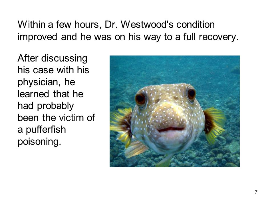 Within a few hours, Dr. Westwood's condition improved and he was on his way to a full recovery. 7 After discussing his case with his physician, he lea