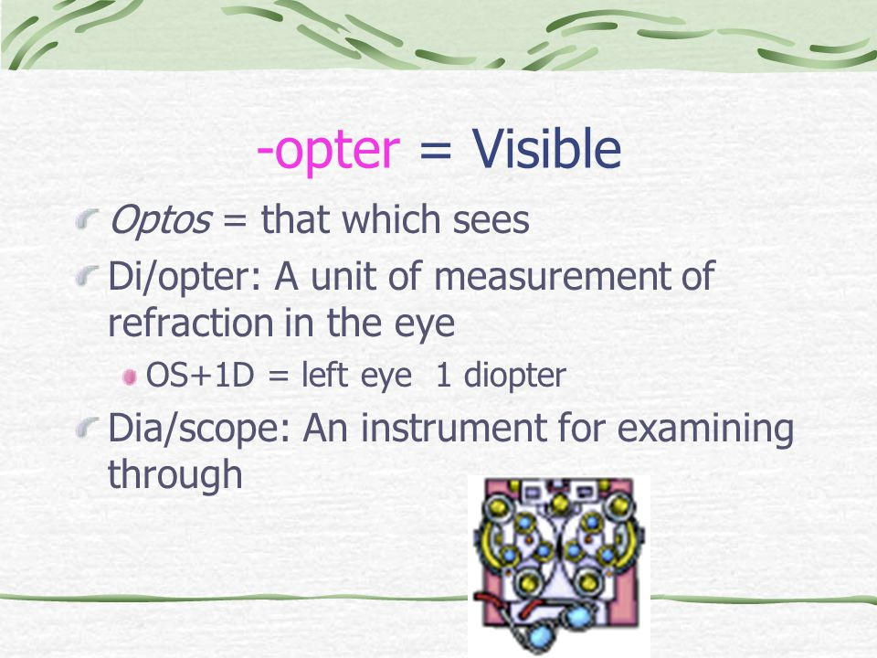 -opter = Visible Optos = that which sees Di/opter: A unit of measurement of refraction in the eye OS+1D = left eye 1 diopter Dia/scope: An instrument for examining through