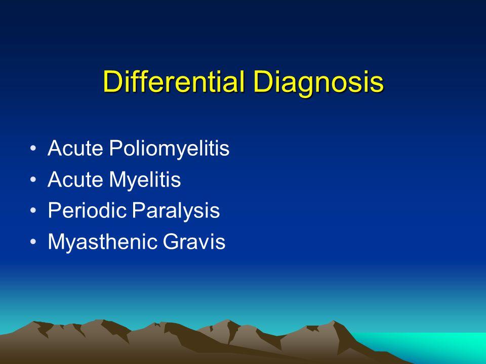 Differential Diagnosis Acute Poliomyelitis Acute Myelitis Periodic Paralysis Myasthenic Gravis
