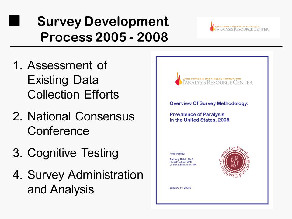 Survey Development Process 2005 - 2008 1.Assessment of Existing Data Collection Efforts 2.National Consensus Conference 3.Cognitive Testing 4.Survey A