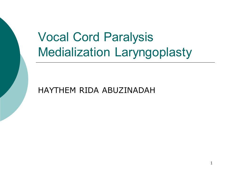 1 Vocal Cord Paralysis Medialization Laryngoplasty HAYTHEM RIDA ABUZINADAH