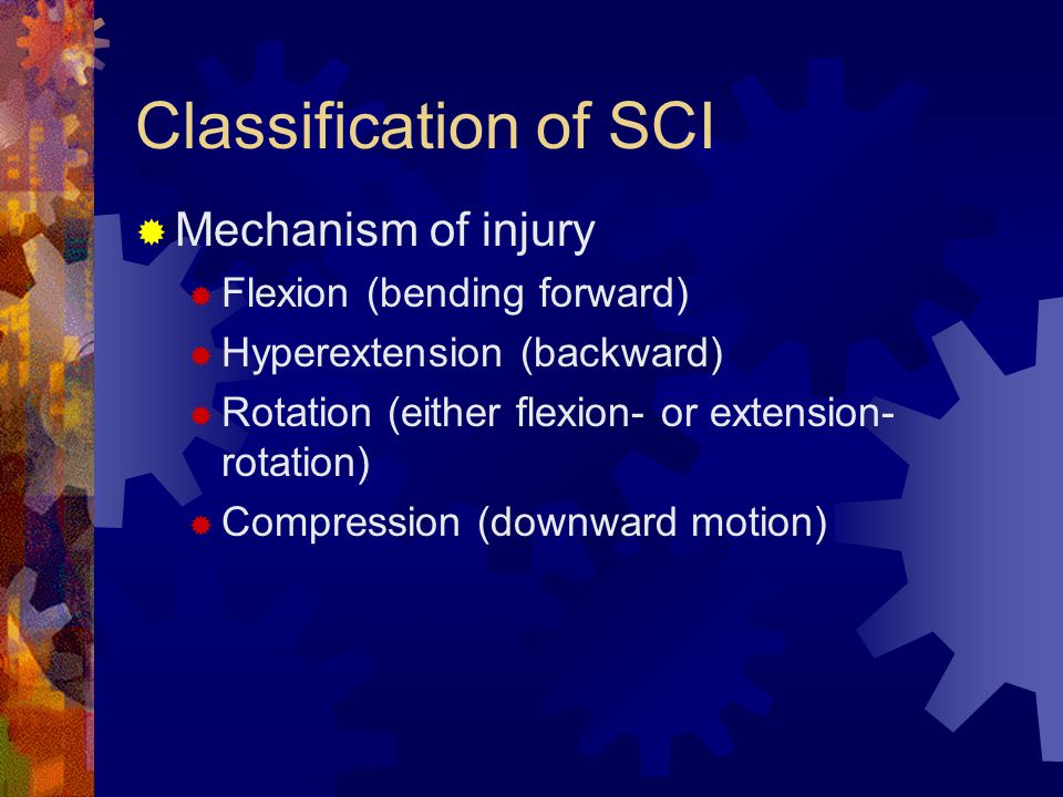 Classification of SCI  Mechanism of injury  Flexion (bending forward)  Hyperextension (backward)  Rotation (either flexion- or extension- rotation)  Compression (downward motion)