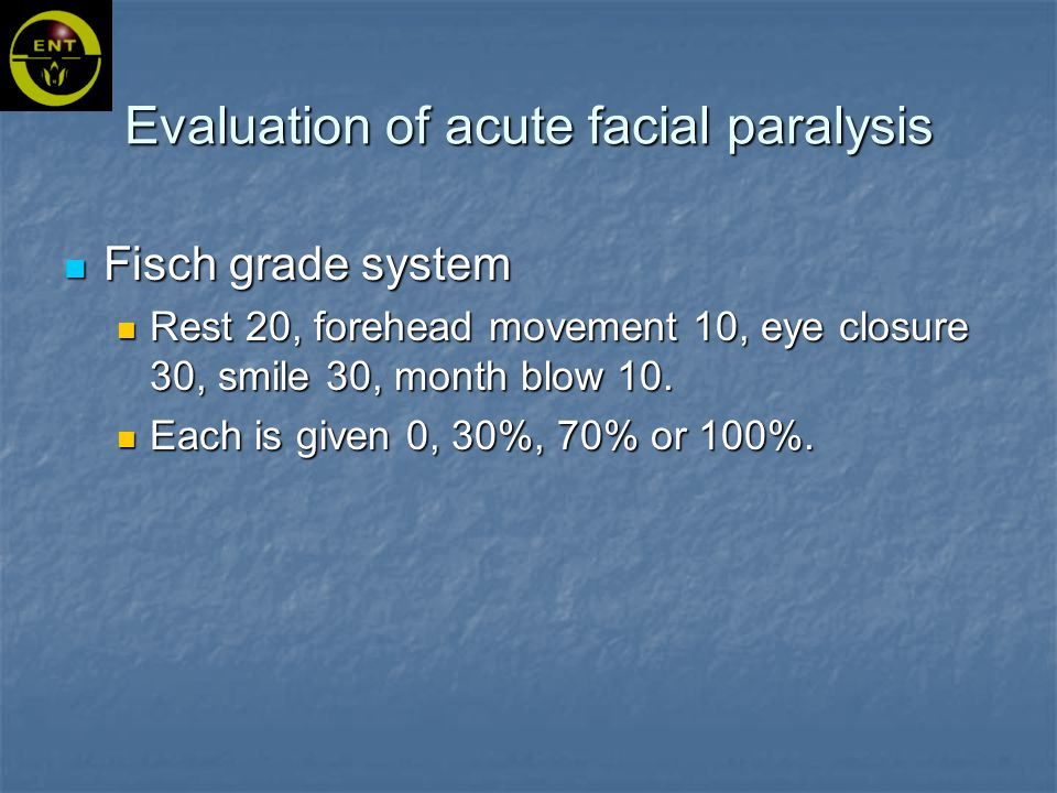 Fisch grade system Rest 20, forehead movement 10, eye closure 30, smile 30, month blow 10.