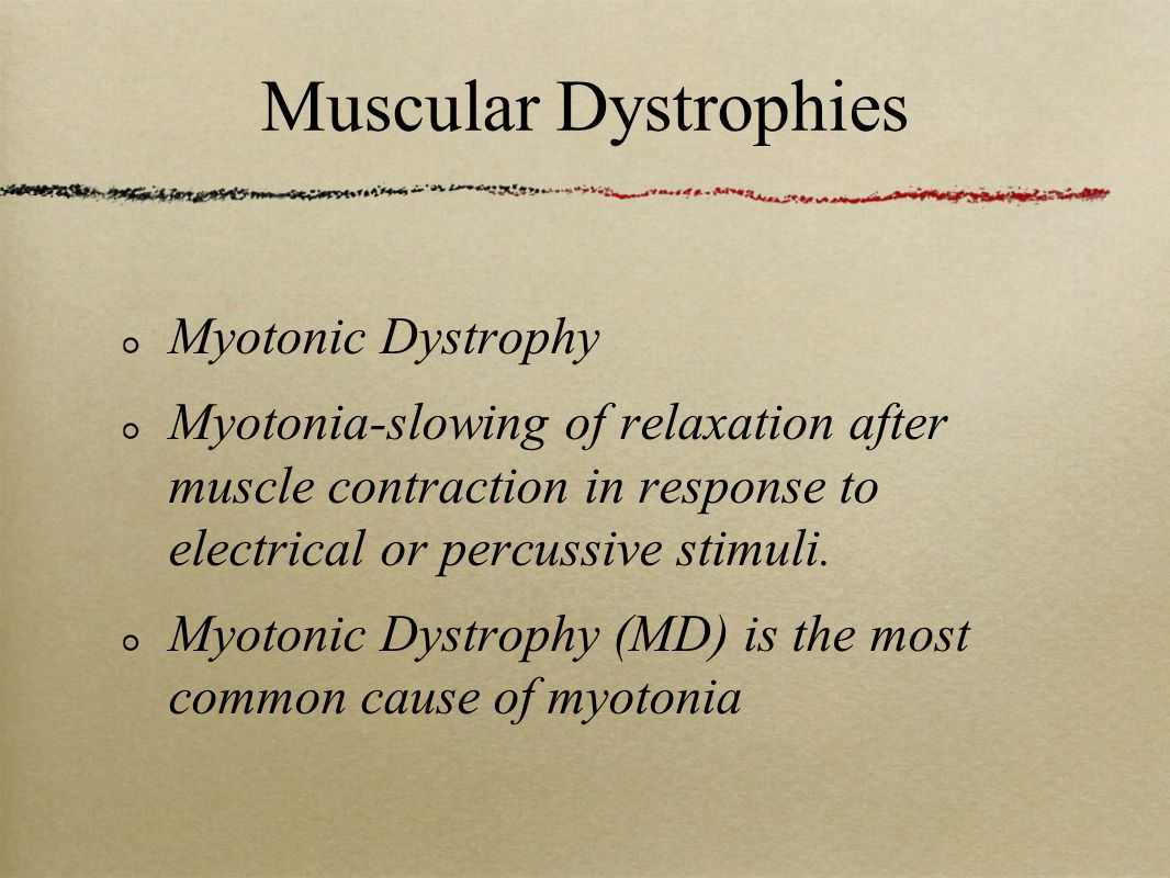 Muscular Dystrophies Myotonic Dystrophy Myotonia-slowing of relaxation after muscle contraction in response to electrical or percussive stimuli.