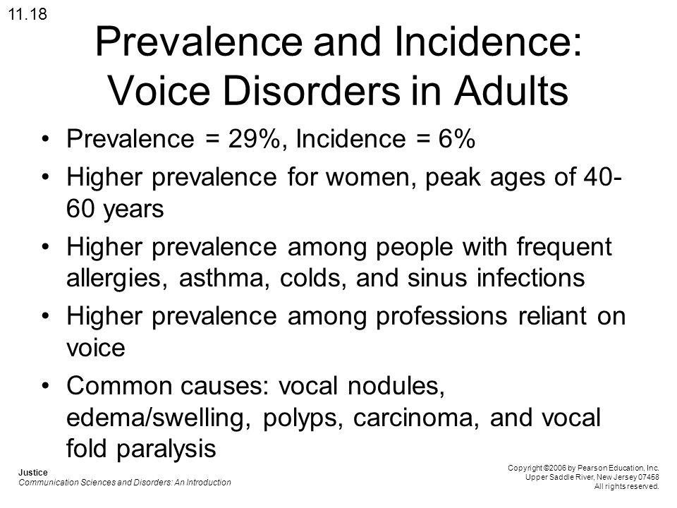 Prevalence and Incidence: Voice Disorders in Adults Prevalence = 29%, Incidence = 6% Higher prevalence for women, peak ages of 40- 60 years Higher pre
