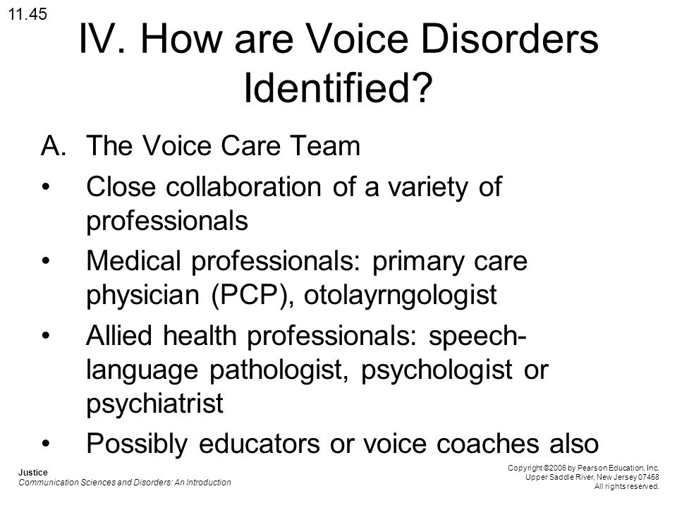 IV. How are Voice Disorders Identified? A.The Voice Care Team Close collaboration of a variety of professionals Medical professionals: primary care ph