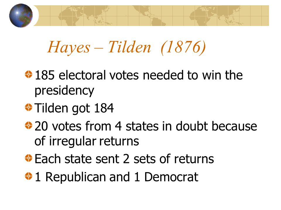 Hayes – Tilden (1876) 185 electoral votes needed to win the presidency Tilden got 184 20 votes from 4 states in doubt because of irregular returns Each state sent 2 sets of returns 1 Republican and 1 Democrat