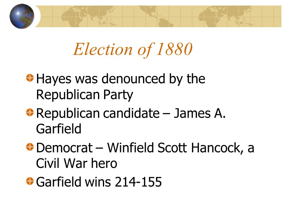 Election of 1880 Hayes was denounced by the Republican Party Republican candidate – James A.