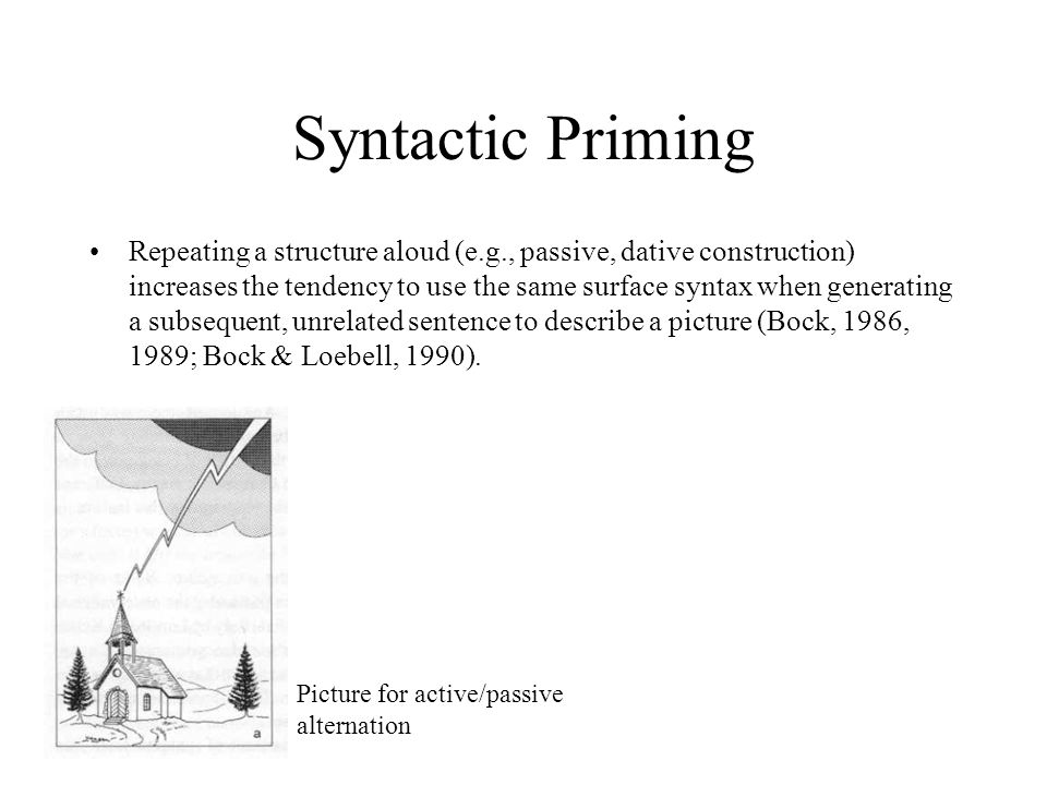 Syntactic Priming Repeating a structure aloud (e.g., passive, dative construction) increases the tendency to use the same surface syntax when generating a subsequent, unrelated sentence to describe a picture (Bock, 1986, 1989; Bock & Loebell, 1990).
