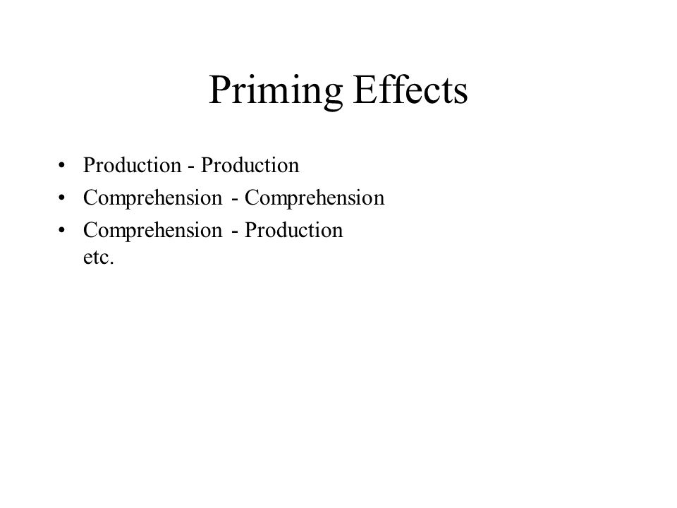 Priming Effects Production - Production Comprehension - Comprehension Comprehension - Production etc.