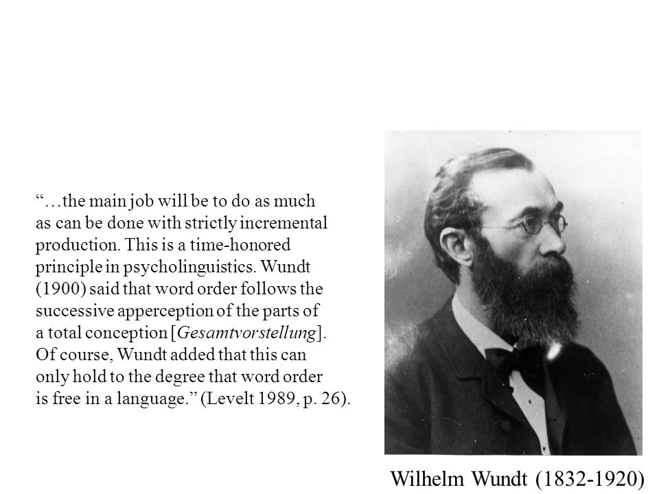 Wilhelm Wundt (1832-1920) …the main job will be to do as much as can be done with strictly incremental production.