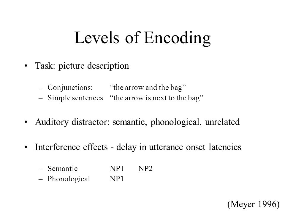 Levels of Encoding Task: picture description –Conjunctions: the arrow and the bag –Simple sentences the arrow is next to the bag Auditory distractor: semantic, phonological, unrelated Interference effects - delay in utterance onset latencies –SemanticNP1NP2 –PhonologicalNP1 (Meyer 1996)