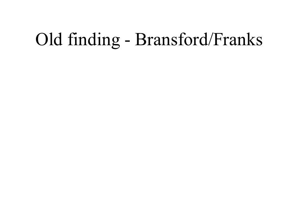 Old finding - Bransford/Franks