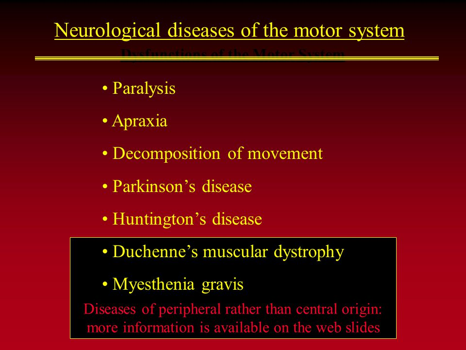 Diseases of peripheral rather than central origin: more information is available on the web slides Dysfunctions of the Motor System Neurological diseases of the motor system Paralysis Apraxia Decomposition of movement Parkinson's disease Huntington's disease Duchenne's muscular dystrophy Myesthenia gravis