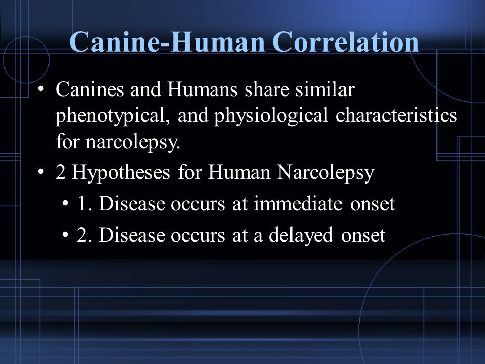 Canine-Human Correlation Canines and Humans share similar phenotypical, and physiological characteristics for narcolepsy. 2 Hypotheses for Human Narco