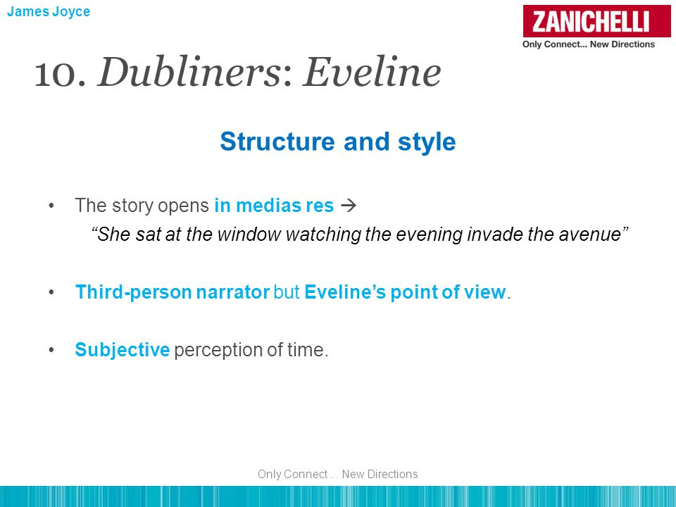 The story opens in medias res  She sat at the window watching the evening invade the avenue Third-person narrator but Eveline's point of view.