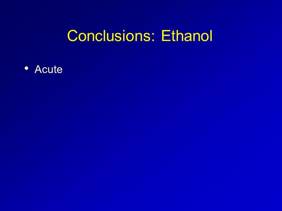 Conclusions: Ethanol Acute