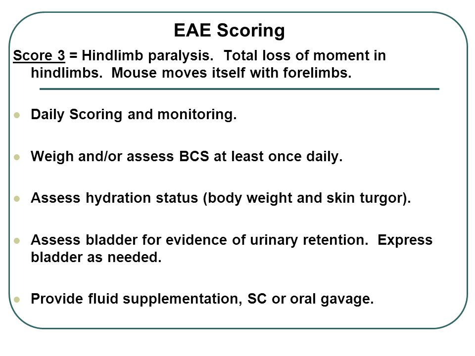 EAE Scoring Score 3 = Hindlimb paralysis. Total loss of moment in hindlimbs.