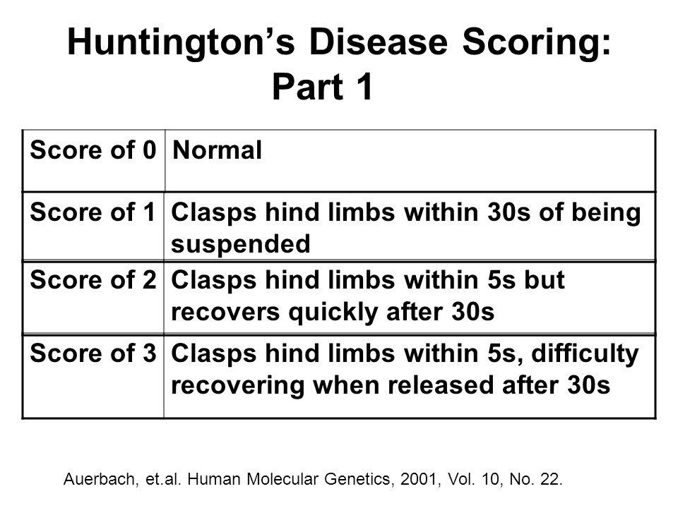Huntington's Disease Scoring: Part 1 Auerbach, et.al.