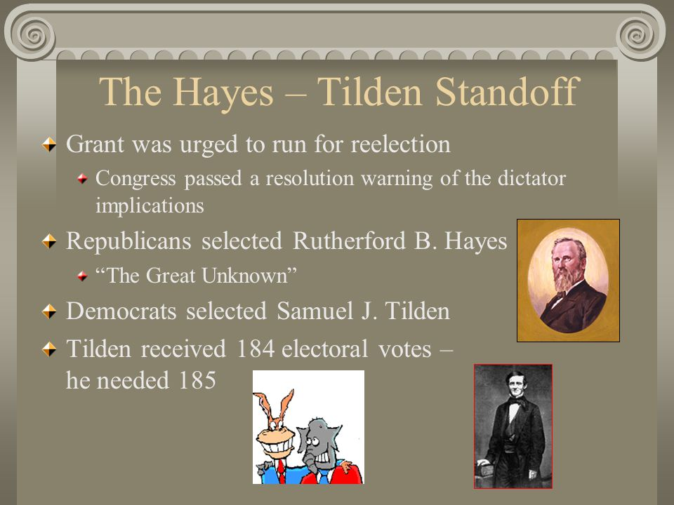 The Hayes – Tilden Standoff Grant was urged to run for reelection Congress passed a resolution warning of the dictator implications Republicans selected Rutherford B.
