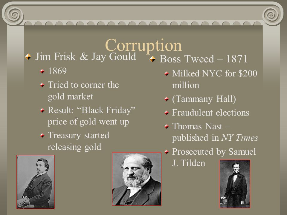 Corruption Jim Frisk & Jay Gould 1869 Tried to corner the gold market Result: Black Friday price of gold went up Treasury started releasing gold Boss Tweed – 1871 Milked NYC for $200 million (Tammany Hall) Fraudulent elections Thomas Nast – published in NY Times Prosecuted by Samuel J.