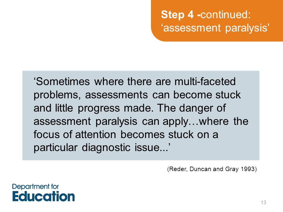 Step 4 -continued: 'assessment paralysis' 'Sometimes where there are multi-faceted problems, assessments can become stuck and little progress made.