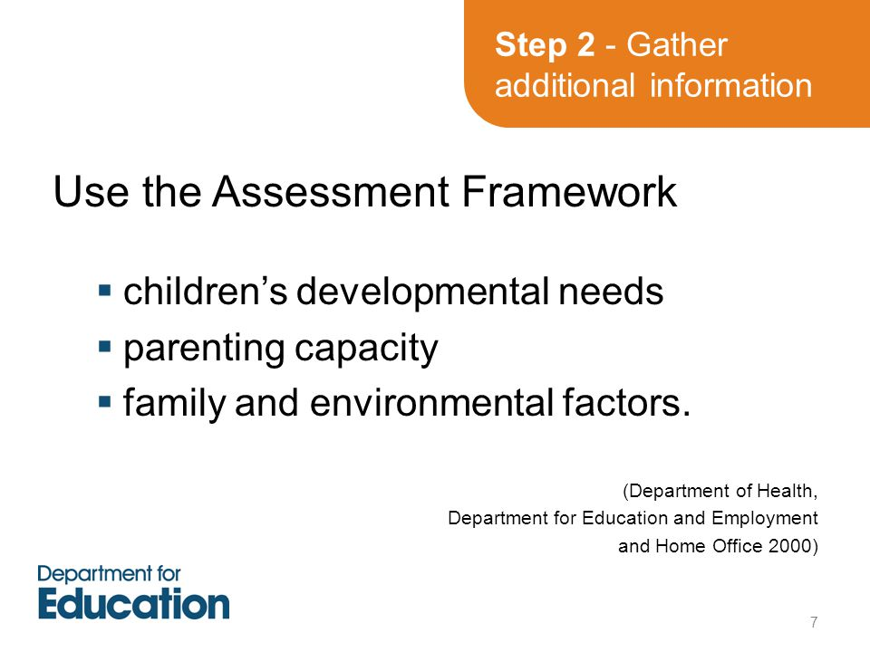 Use the Assessment Framework  children's developmental needs  parenting capacity  family and environmental factors.