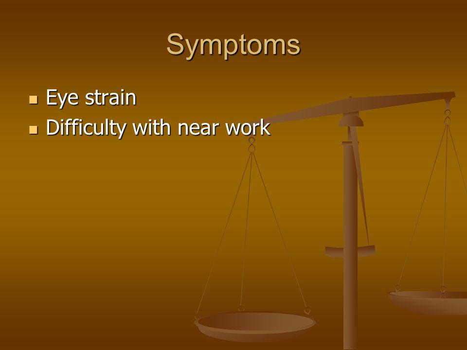 Symptoms Eye strain Eye strain Difficulty with near work Difficulty with near work