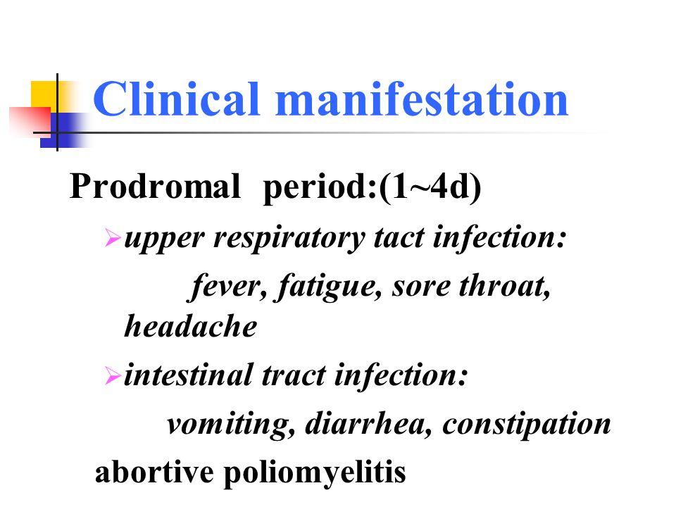 Clinical manifestation  Paralytic poliomyelitis  Prodromal period  preparalytic period  paralytic period  convalescent period  sequela period