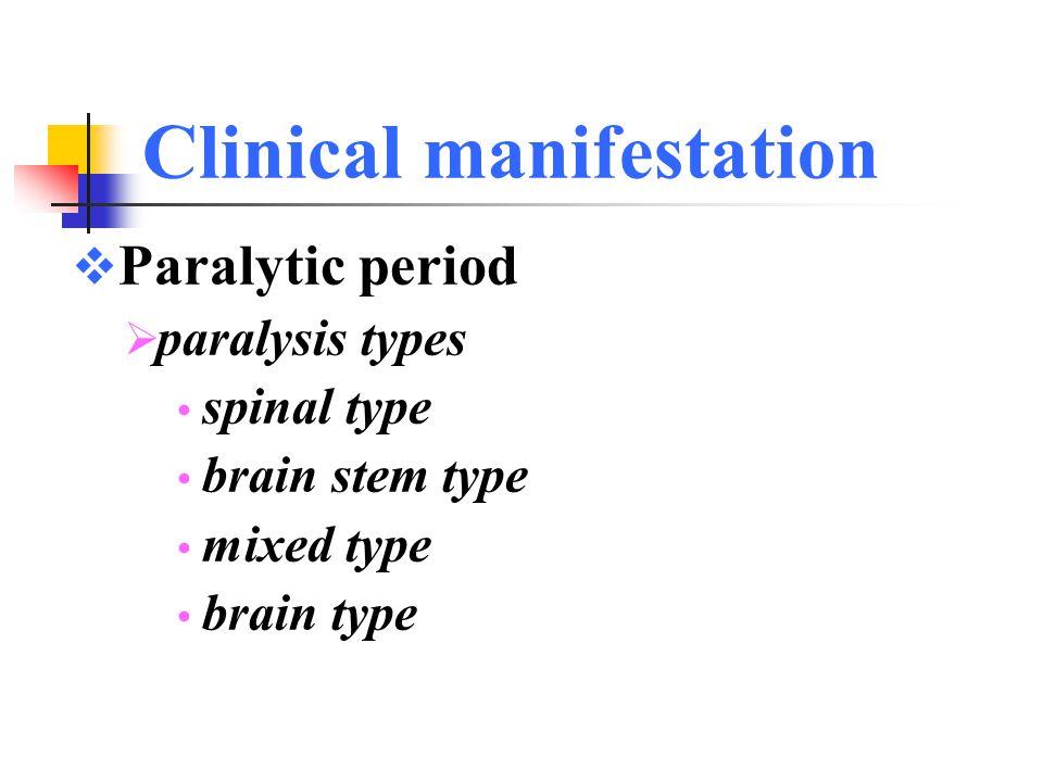 Clinical manifestation  Preparalytic period  symptoms & signs of CNS  cutaneous hyperesthesia  hyperhidrosis  meningeal irritations (neck stiffness Kernigs & Brudzinskis signs positive) 3~6d, nonparalytic poliomyelitis