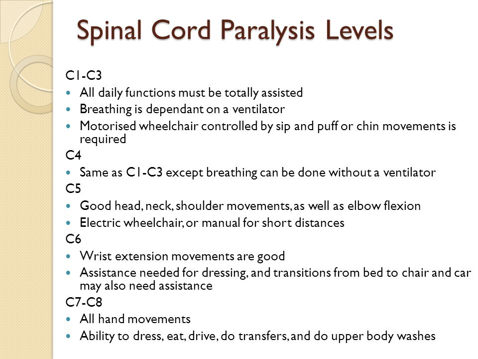 Spinal Cord Paralysis Levels C1-C3 All daily functions must be totally assisted Breathing is dependant on a ventilator Motorised wheelchair controlled by sip and puff or chin movements is required C4 Same as C1-C3 except breathing can be done without a ventilator C5 Good head, neck, shoulder movements, as well as elbow flexion Electric wheelchair, or manual for short distances C6 Wrist extension movements are good Assistance needed for dressing, and transitions from bed to chair and car may also need assistance C7-C8 All hand movements Ability to dress, eat, drive, do transfers, and do upper body washes