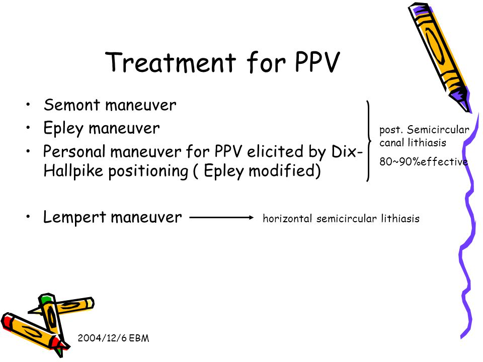 2004/12/6 EBM Treatment for PPV Semont maneuver Epley maneuver Personal maneuver for PPV elicited by Dix- Hallpike positioning ( Epley modified) Lempert maneuver horizontal semicircular lithiasis post.