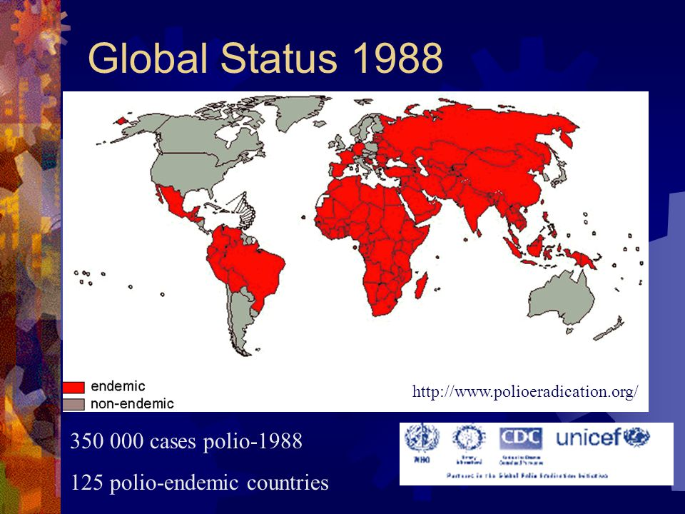 Global Status 1988 350 000 cases polio-1988 125 polio-endemic countries http://www.polioeradication.org/