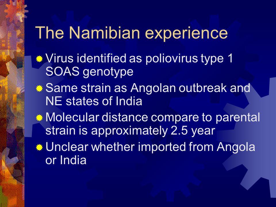 The Namibian experience  Virus identified as poliovirus type 1 SOAS genotype  Same strain as Angolan outbreak and NE states of India  Molecular dis
