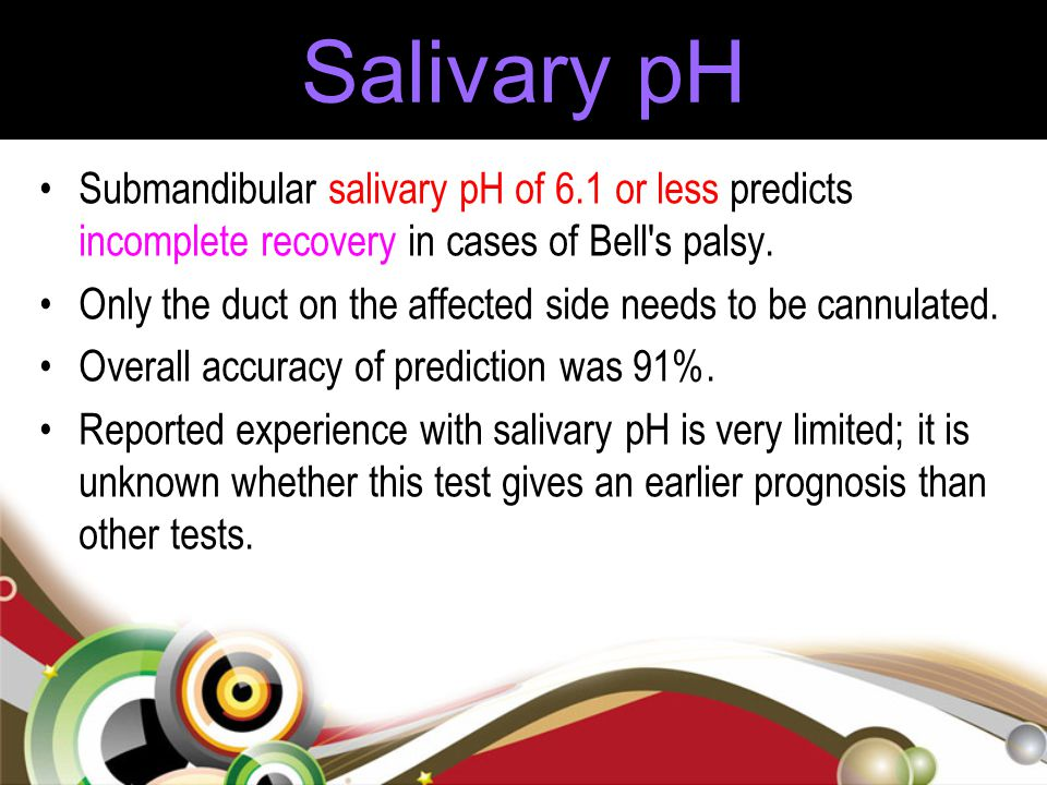 Salivary pH Submandibular salivary pH of 6.1 or less predicts incomplete recovery in cases of Bell's palsy. Only the duct on the affected side needs t