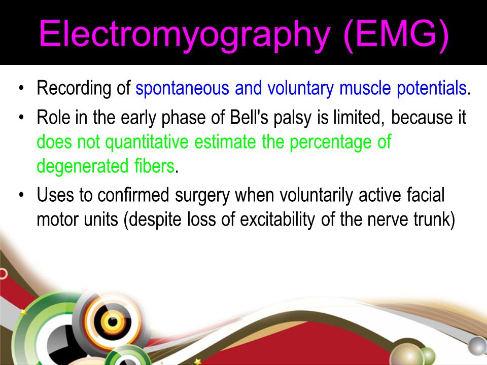 Electromyography (EMG) Recording of spontaneous and voluntary muscle potentials. Role in the early phase of Bell's palsy is limited, because it does n