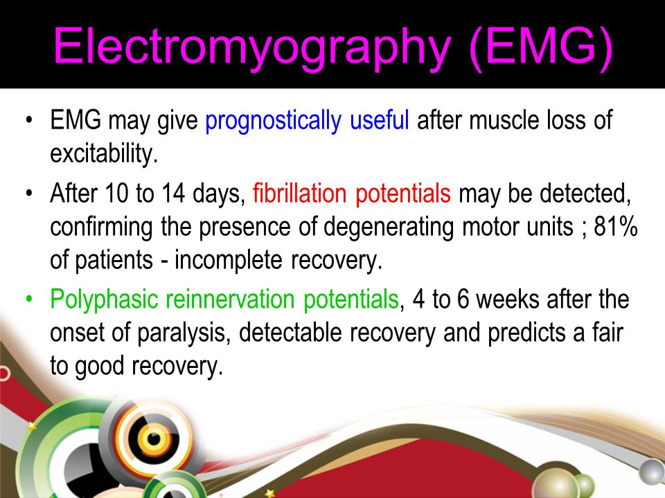 Electromyography (EMG) EMG may give prognostically useful after muscle loss of excitability. After 10 to 14 days, fibrillation potentials may be detec