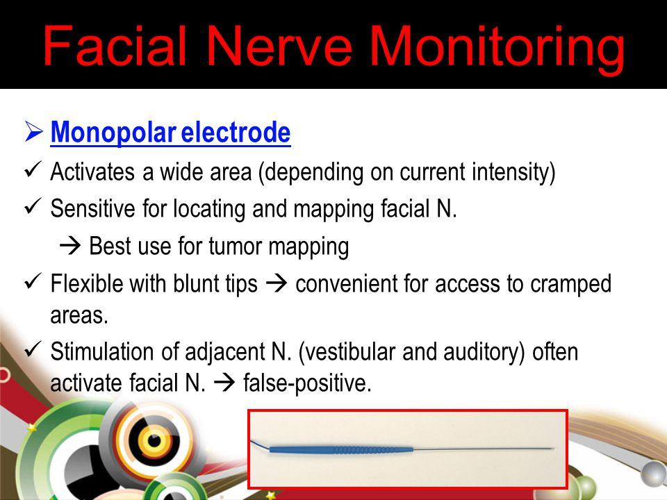  Monopolar electrode Activates a wide area (depending on current intensity) Sensitive for locating and mapping facial N.  Best use for tumor mapping