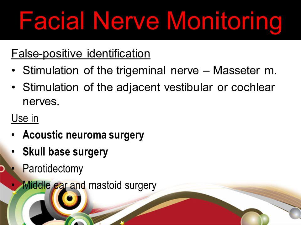 False-positive identification Stimulation of the trigeminal nerve – Masseter m. Stimulation of the adjacent vestibular or cochlear nerves. Use in Acou