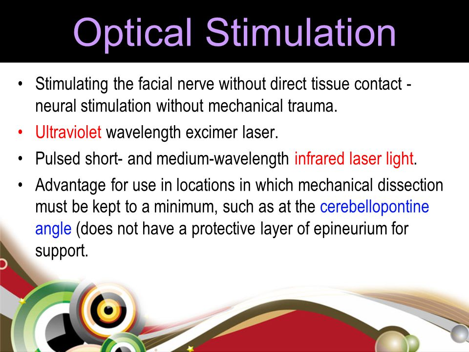 Optical Stimulation Stimulating the facial nerve without direct tissue contact - neural stimulation without mechanical trauma. Ultraviolet wavelength