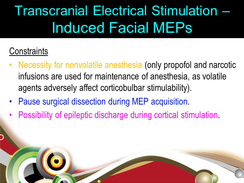 Transcranial Electrical Stimulation – Induced Facial MEPs Constraints Necessity for nonvolatile anesthesia (only propofol and narcotic infusions are u