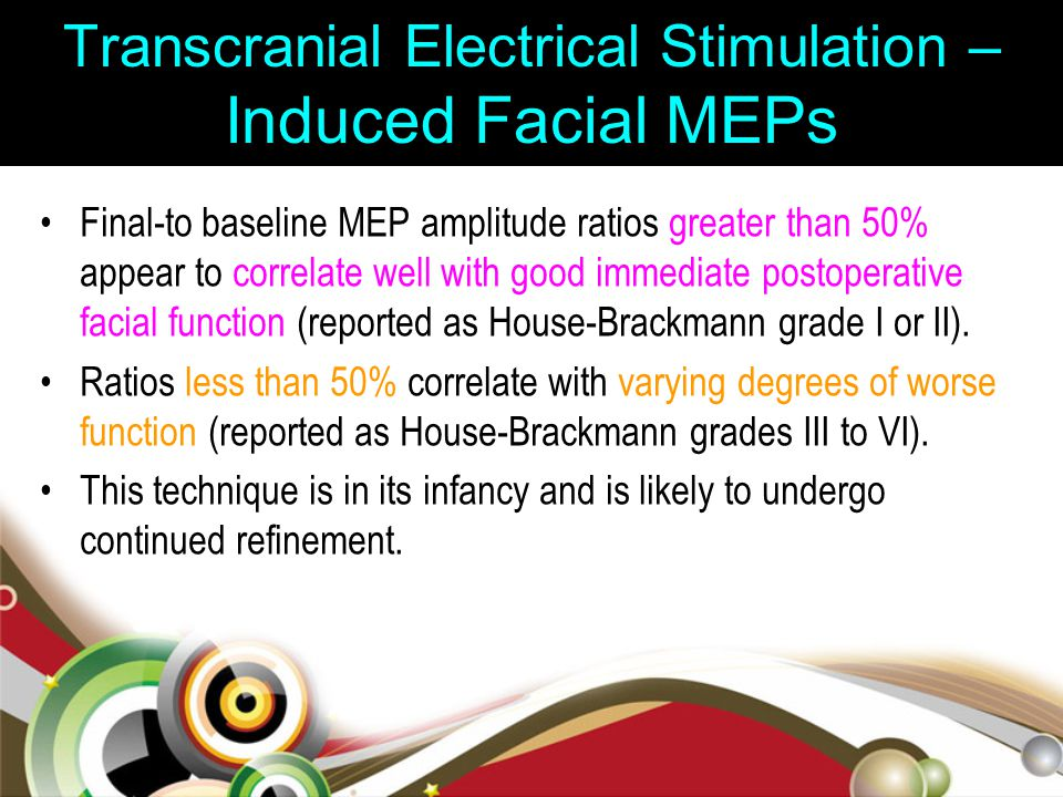 Transcranial Electrical Stimulation – Induced Facial MEPs Final-to baseline MEP amplitude ratios greater than 50% appear to correlate well with good i