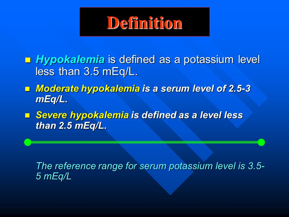 Definition Hypokalemia is defined as a potassium level less than 3.5 mEq/L. Hypokalemia is defined as a potassium level less than 3.5 mEq/L. Moderate