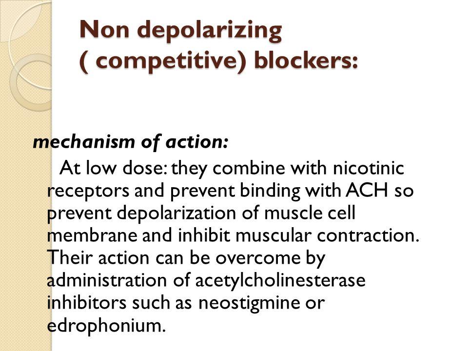 They are of 2 types : 1- Antagonist (nondepolarizing type). (isoquinoline derivative e.g. atracurium, tubocurarine ) or steroid derivative e.g. pancur