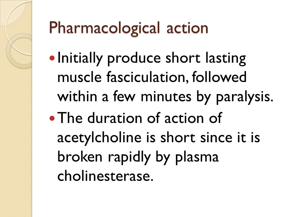 Depolarizing agents: Mechanism of action: Succinylcholine attach to nicotinic receptors and acts like acetylcholine to depolarize NMJ. This drug persi