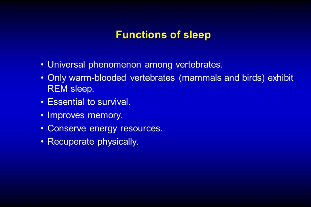 Functions of sleep Universal phenomenon among vertebrates.