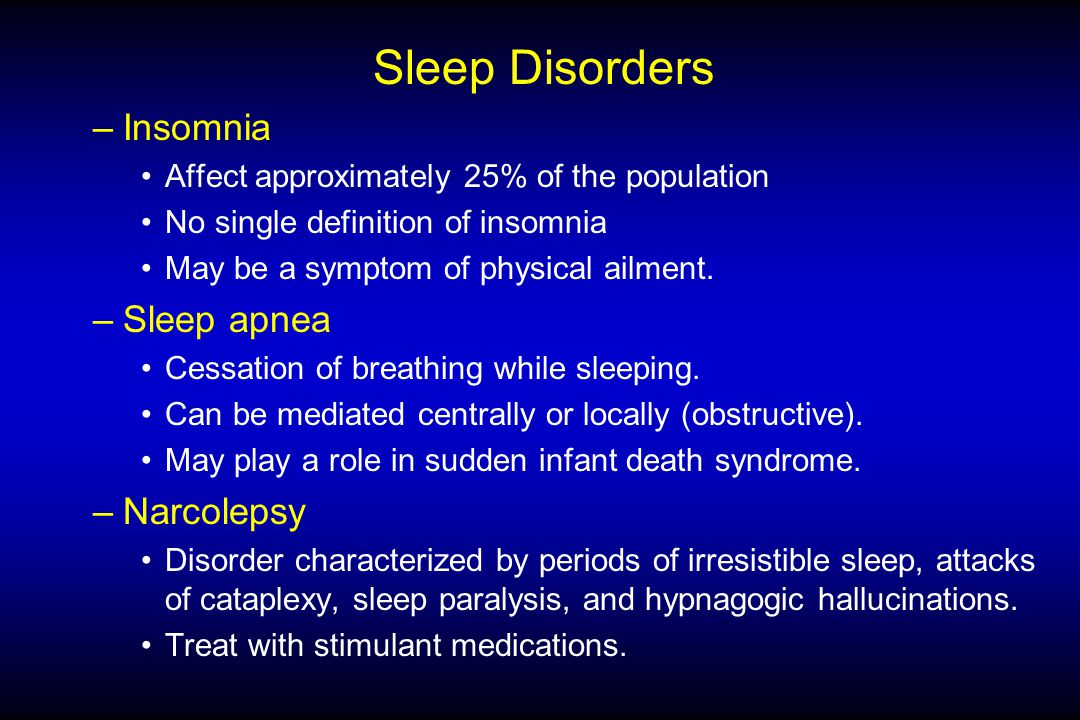 Sleep Disorders –Insomnia Affect approximately 25% of the population No single definition of insomnia May be a symptom of physical ailment.