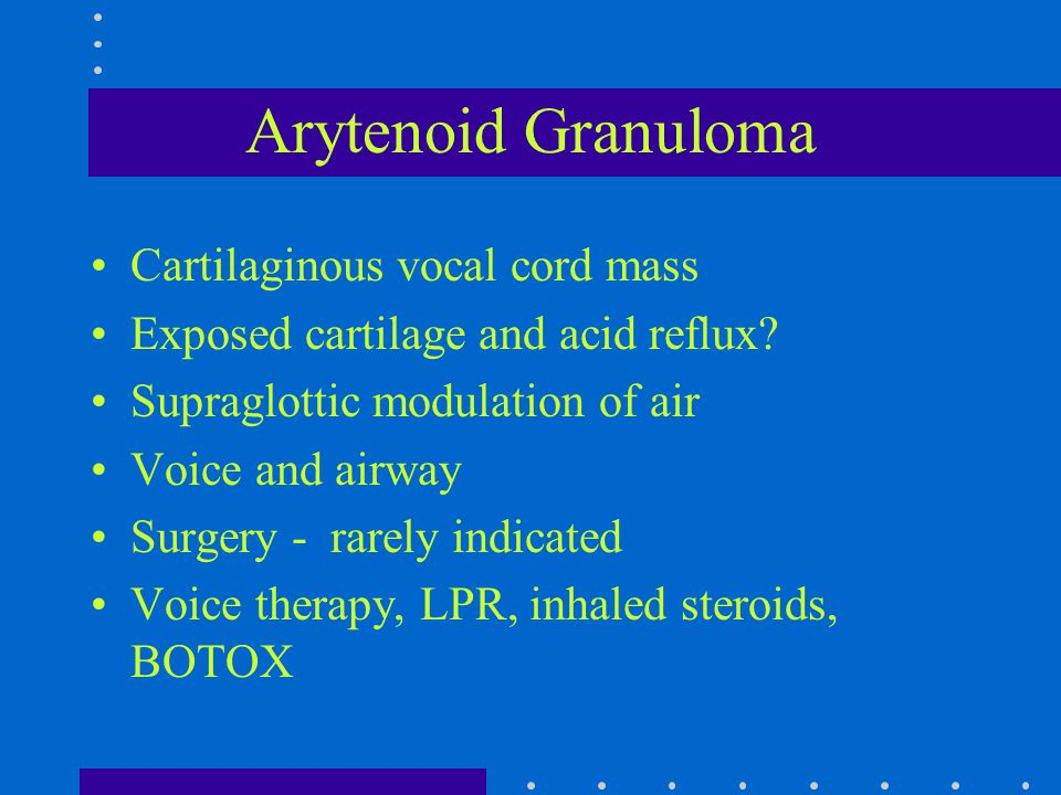 Cartilaginous vocal cord mass Exposed cartilage and acid reflux? Supraglottic modulation of air Voice and airway Surgery - rarely indicated Voice ther