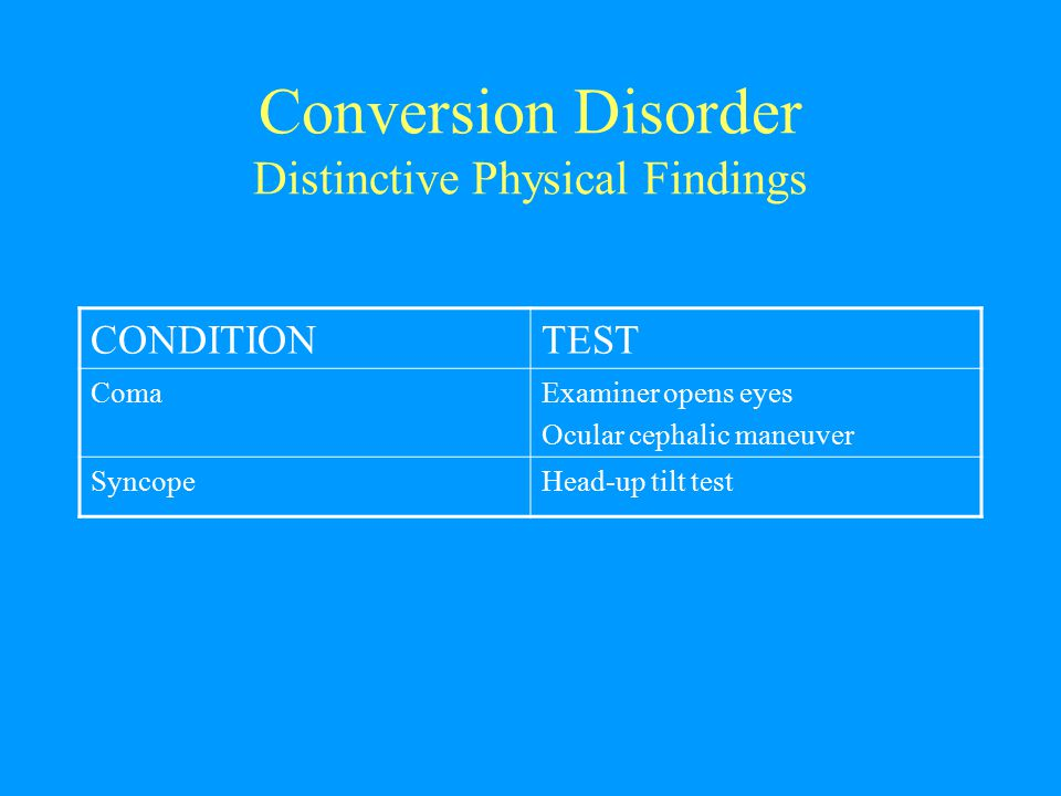 Conversion Disorder Distinctive Physical Findings CONDITIONTEST ComaExaminer opens eyes Ocular cephalic maneuver SyncopeHead-up tilt test
